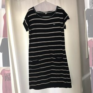 Lacoste cotton striped dress with pockets